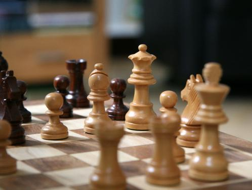 Close up of chess board